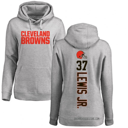 Women's Donnie Lewis Jr. Cleveland Browns Pro Line Ash Backer Pullover Hoodie